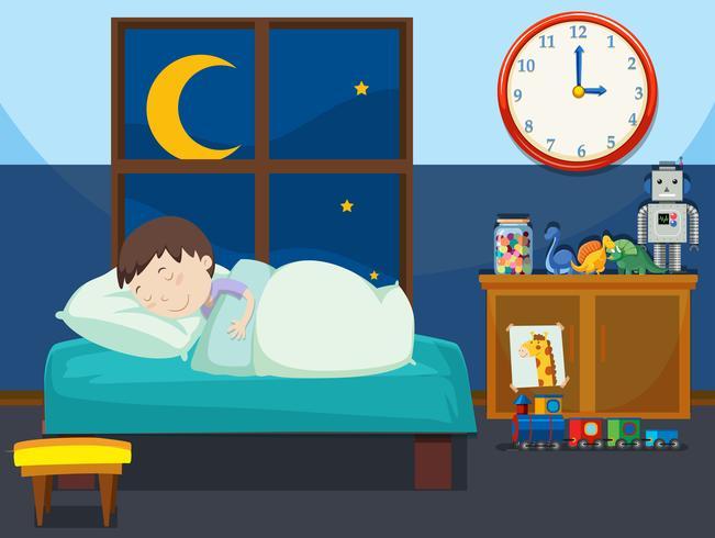 A boy sleeping in bedroom