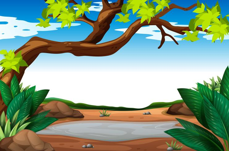 Scene with muddy puddle vector