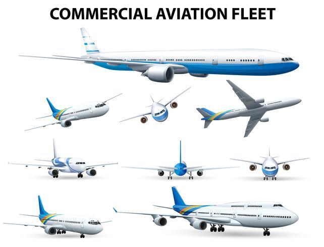 Aeroplano in diverse posizioni per la flotta commerciale dell'aviazione