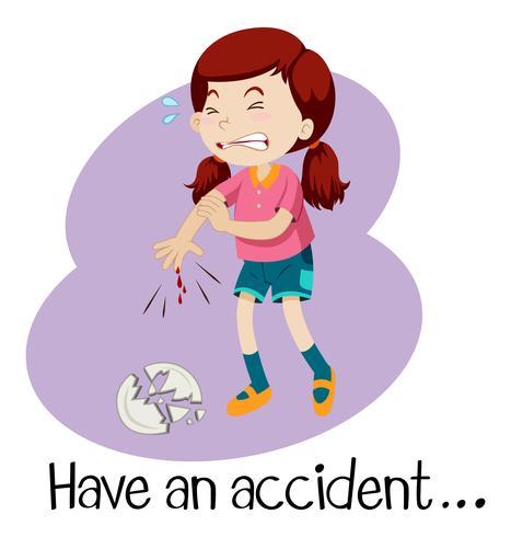 Una joven que tiene un accidente vector