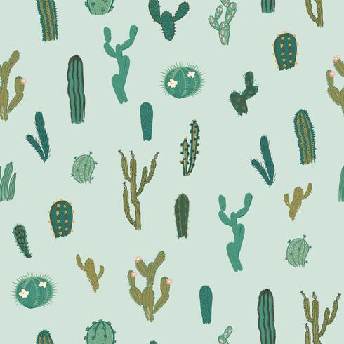 Vector seamless pattern with cactus. Repeated texture with green cacti.