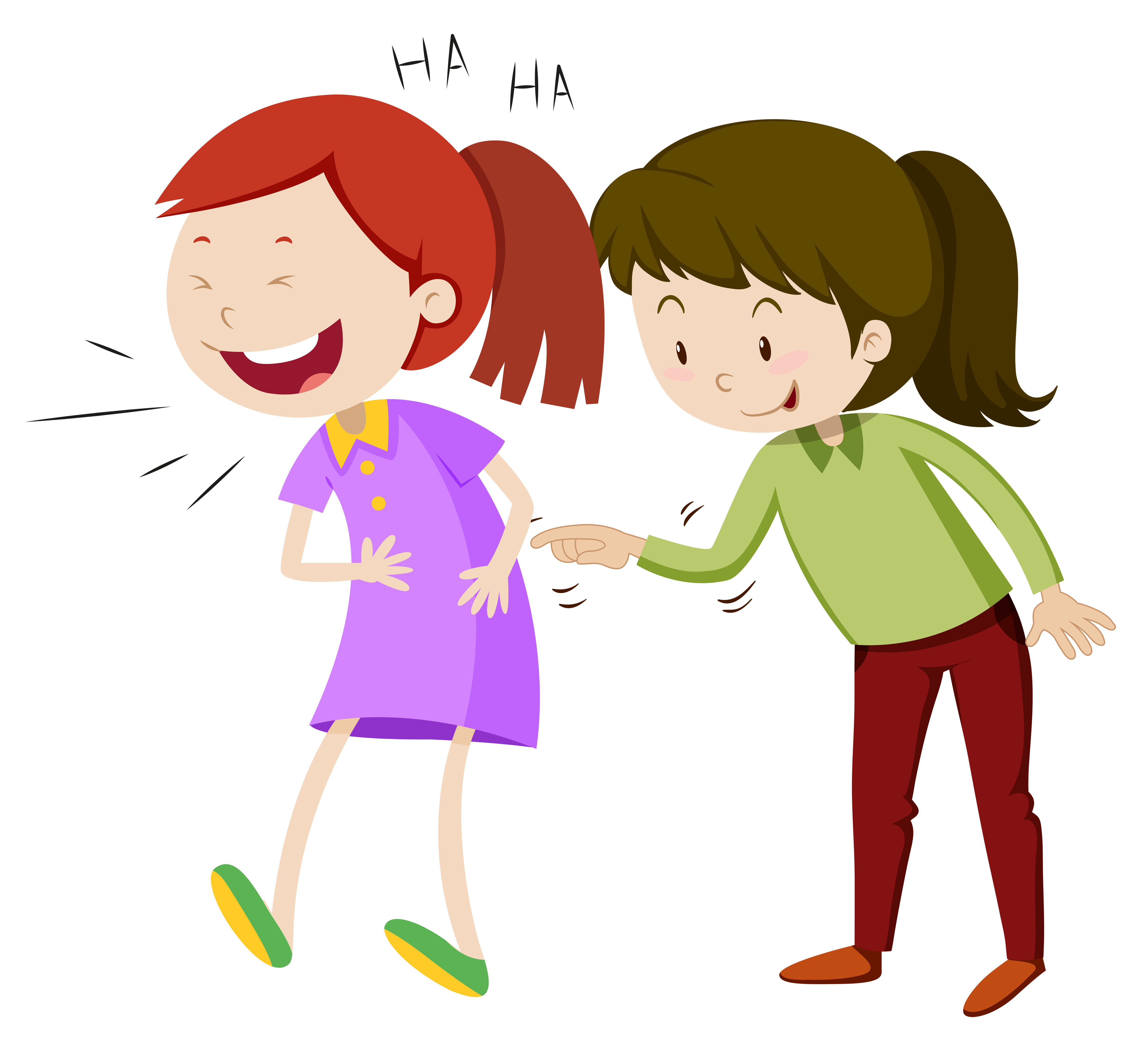 Two happy girls laughing - Download Free Vectors, Clipart
