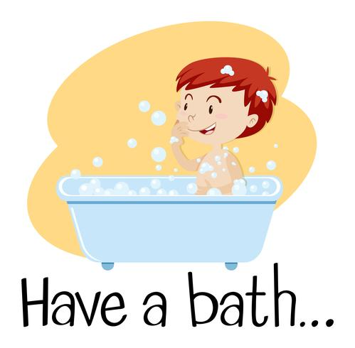 Um menino tomando banho