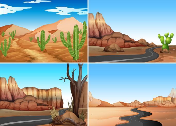 Cuatro escenas del desierto con caminos vacíos.