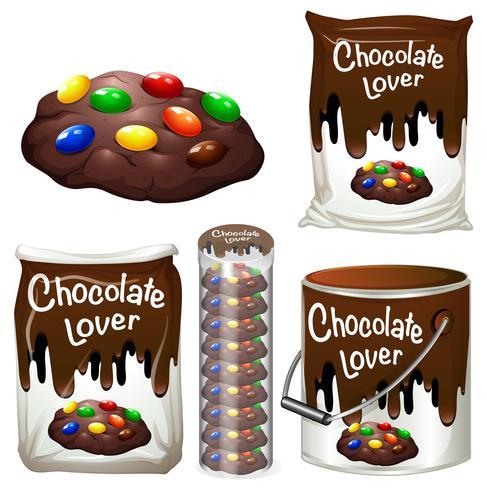 Chocolade koekjes in veel verpakkingen