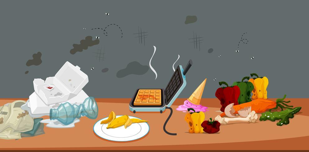 Smutsig och moldig mat och skräp