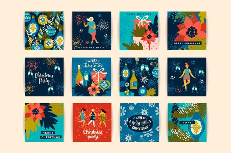 Cartoline di Natale con donne danzanti e simboli di Capodanno.