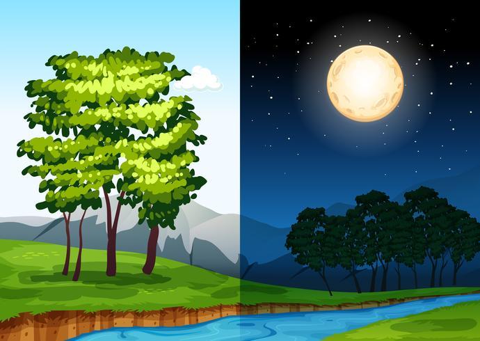 Set van scènes overdag en in de nacht