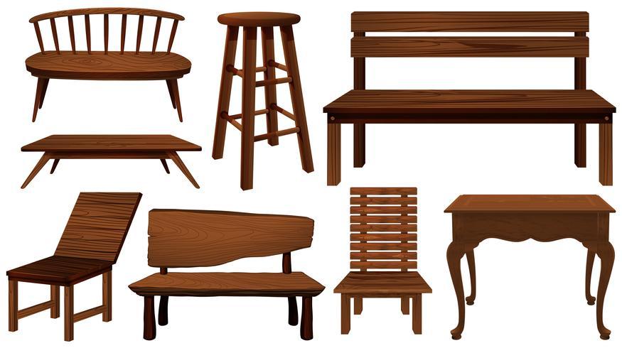 Diferentes diseños de sillas de madera.