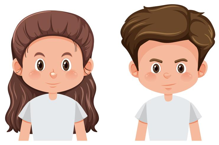 Set of brunette male and female character