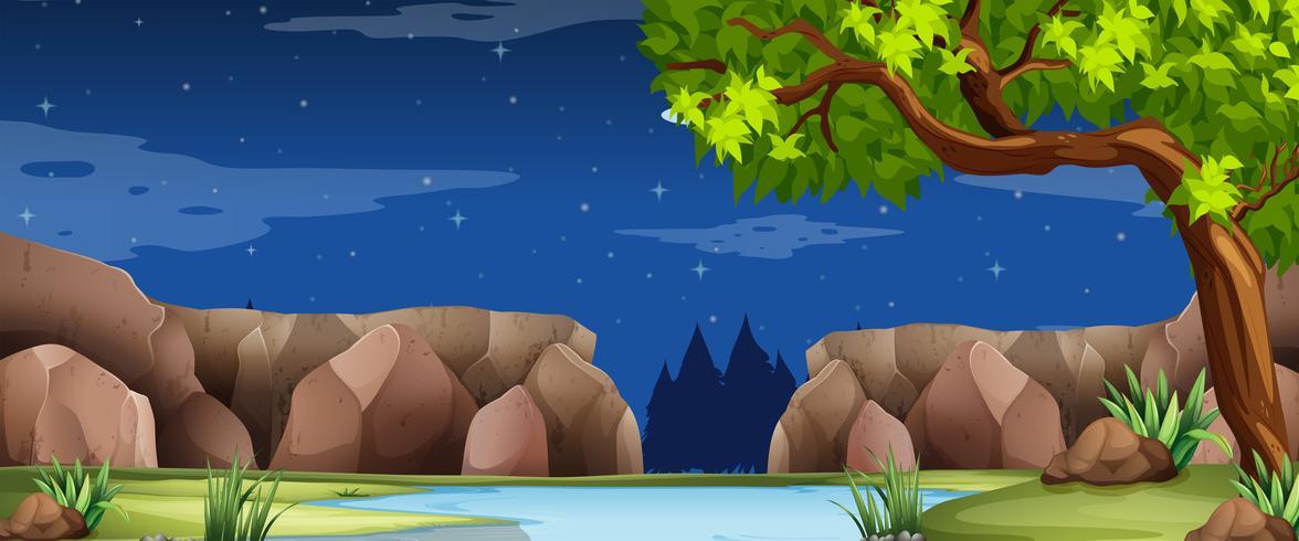 Scène met rivier en canyon 's nachts