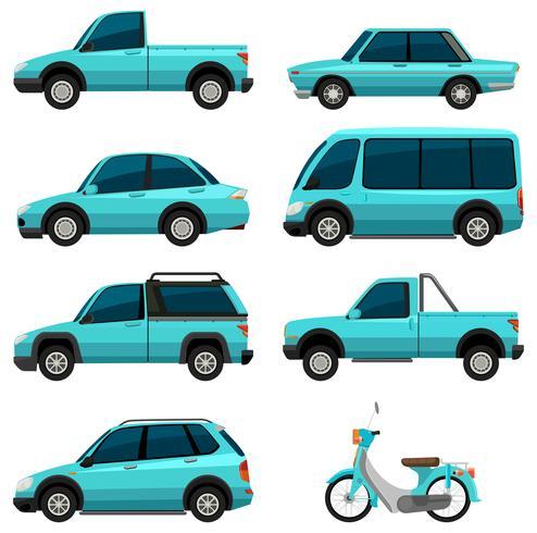 Diferentes tipos de transportes en color azul claro.
