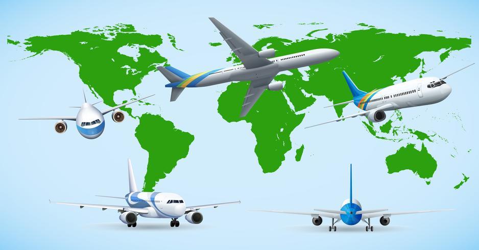 Cinque aerei che volano in tutto il mondo