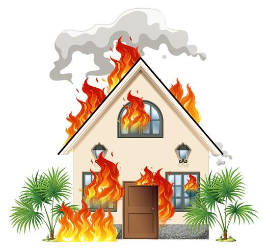Modernt hus i brand