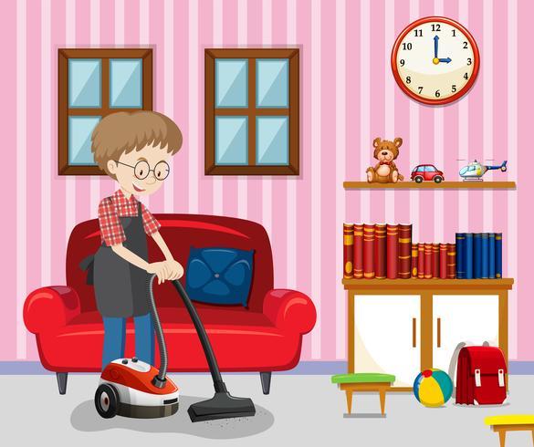 Een man die woonkamer schoonmaakt