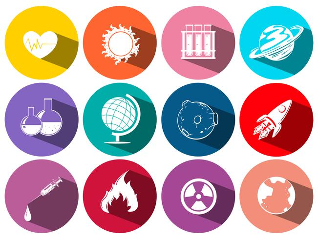 Science and technology symbols on round icons