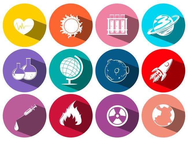 Vetenskap och teknik symboler på runda ikoner