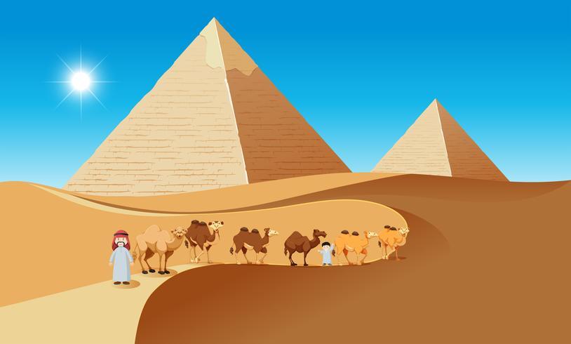 Scène de désert avec des chameaux et des gens