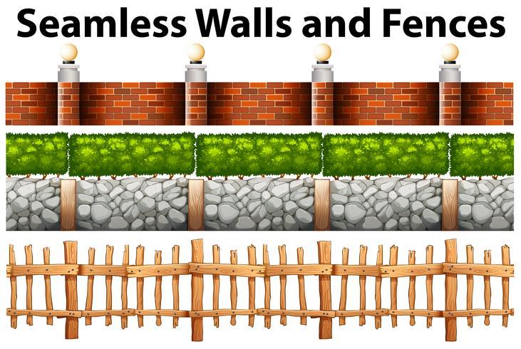 Sömlösa väggar och staket i många mönster