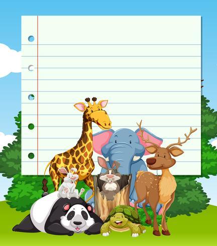 Border design with many wild animals