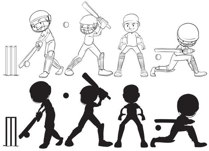 Conjunto de personagem de jogador de críquete