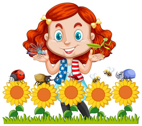 Little girl and insects in sunflower garden