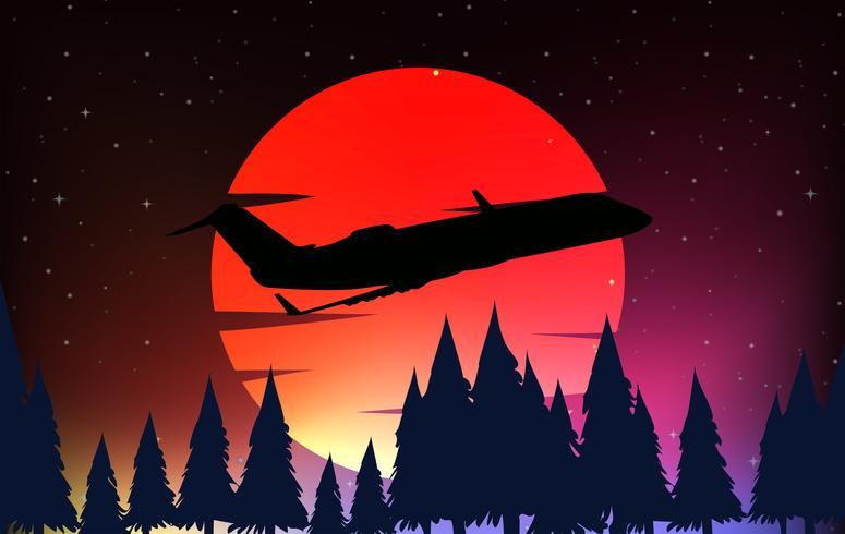 Escena de silueta con avión y luna roja