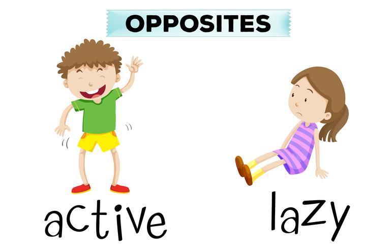 Palabras opuestas para activo y perezoso. vector