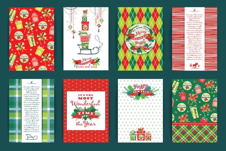 Kerstmis en Nieuwjaar Set. Vector ontwerpsjablonen.