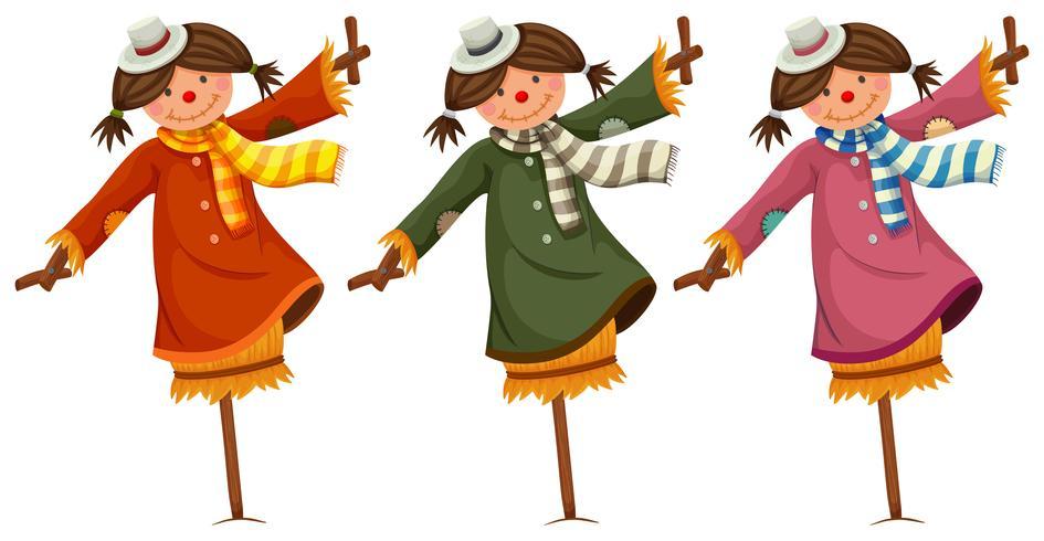 Três, espantalhos, em, mulher, roupas