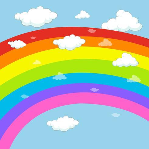 Diseño de fondo con arco iris en el cielo azul