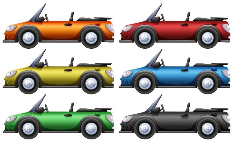 Carros conversíveis em seis cores