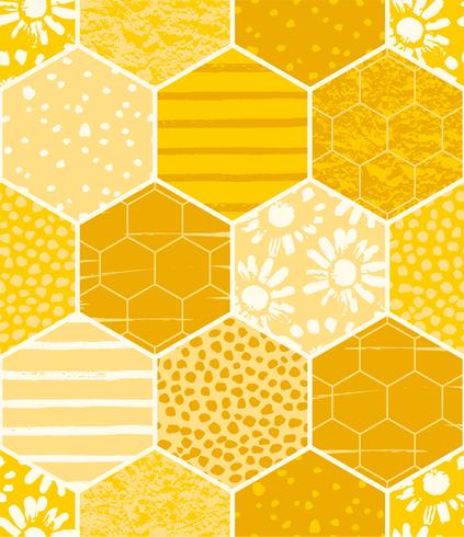 Seamless geometric pattern with honeycomb. Trendy hand drawn textures.