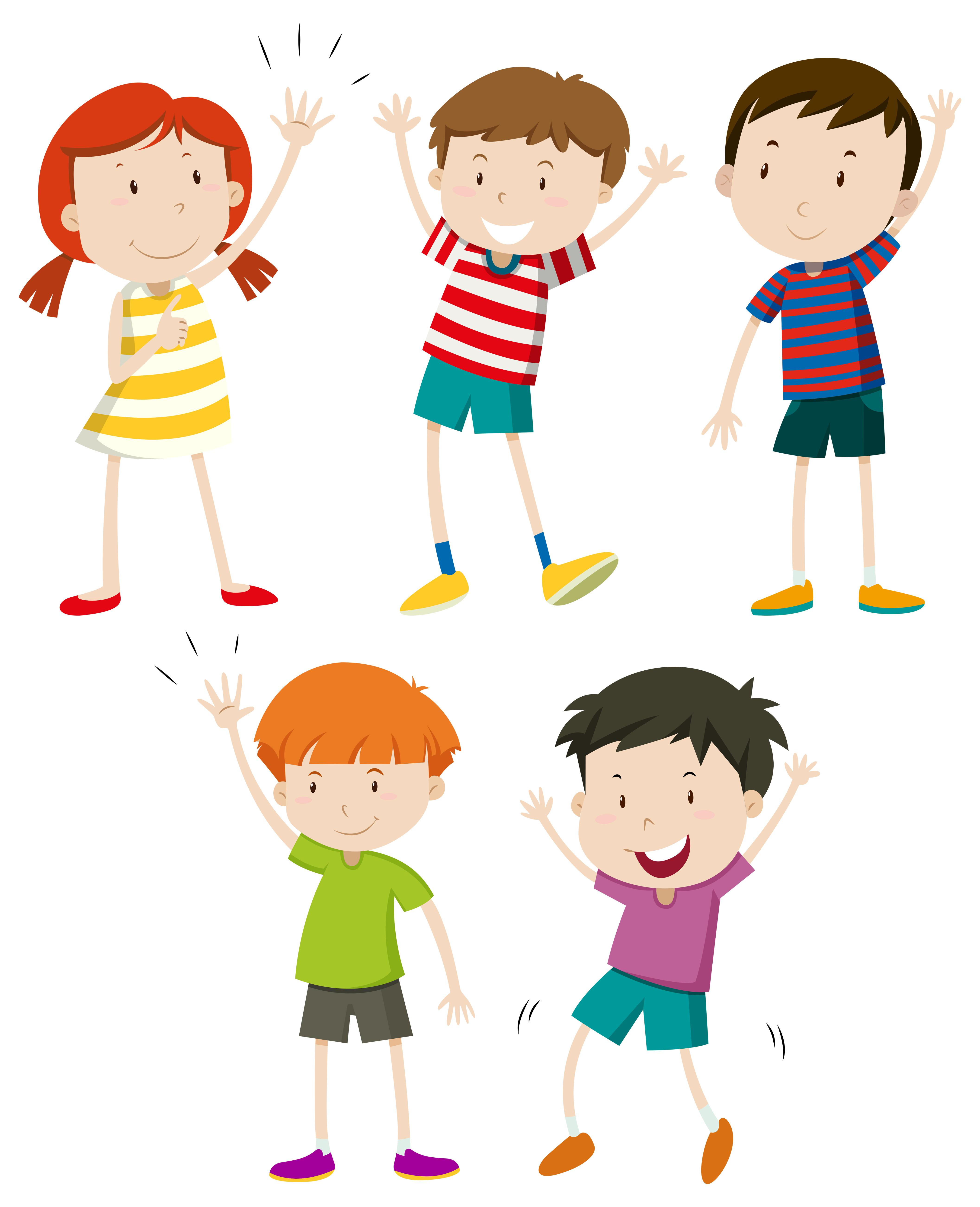 A Set of Kids Waving - Download Free Vectors, Clipart ...