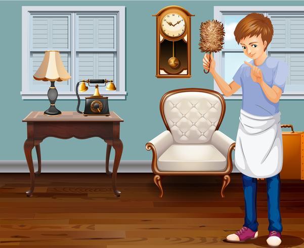 Un joven que limpia la casa