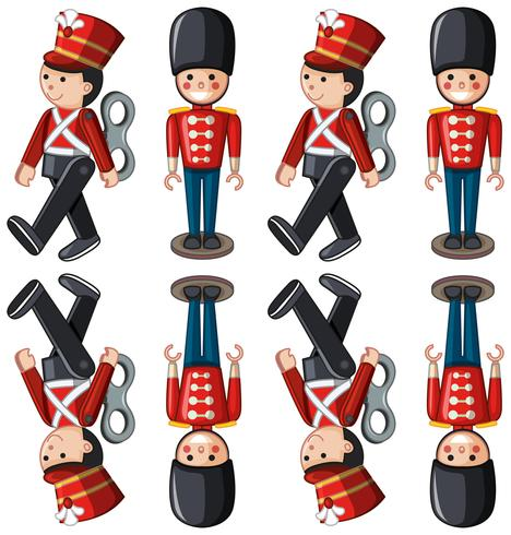 Toy soldiers in different positions