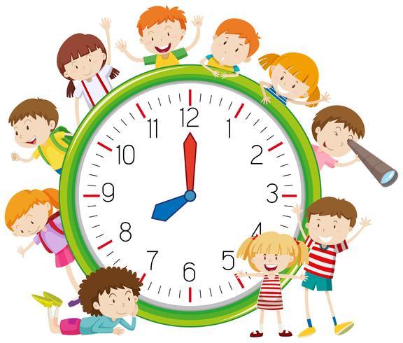 Kids around a clock