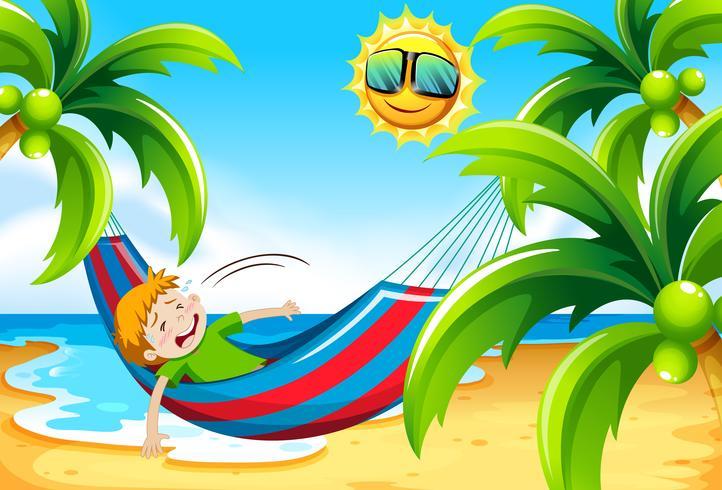 Menino, tendo, insolação, praia