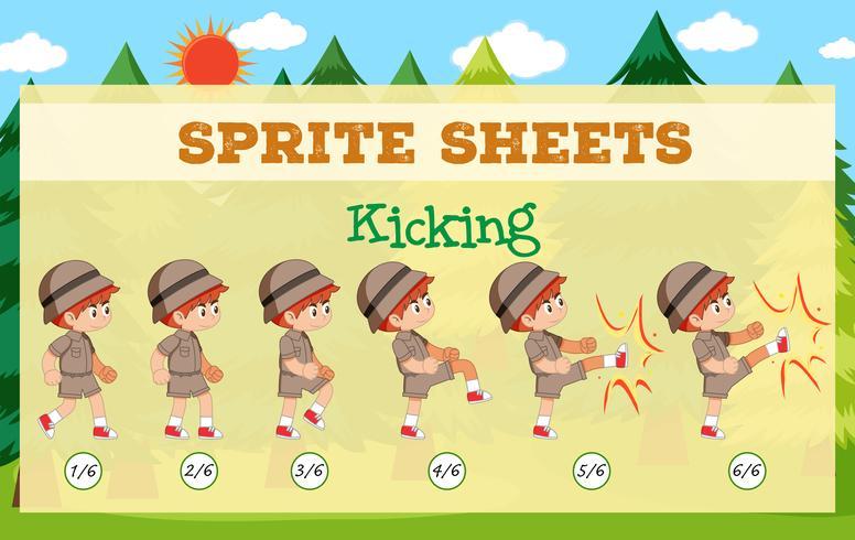 Ein Sprite-Sheet, das Spielvorlagen tritt