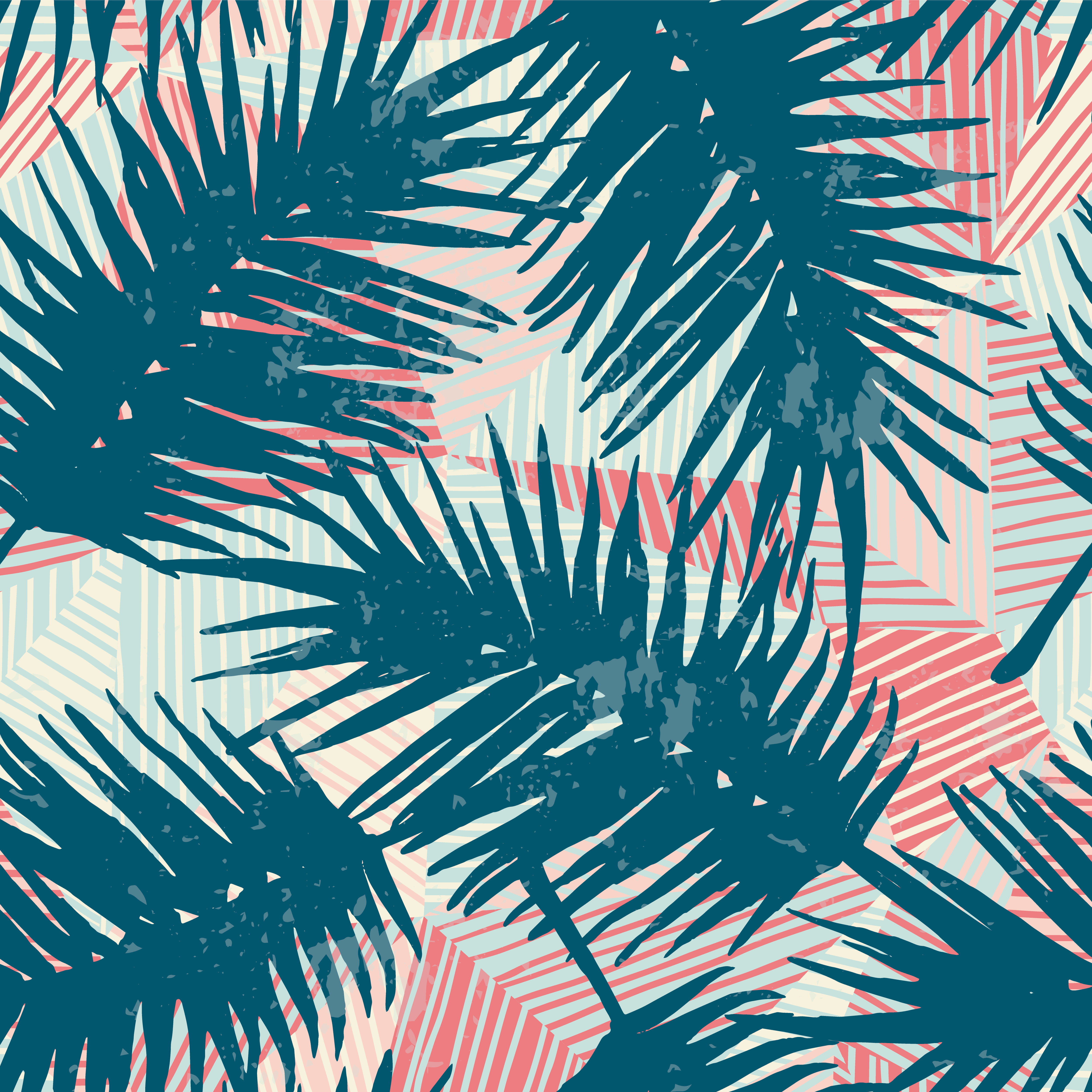 Seamless Exotic Pattern With Tropical Palm Leaves On