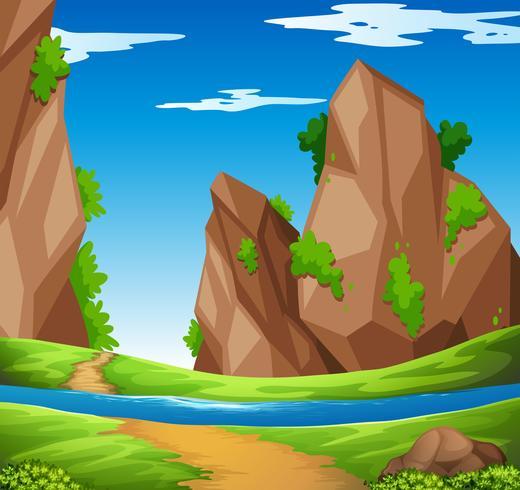 Scène met rivier en berg