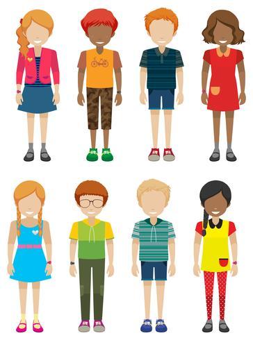 Adolescentes masculinos e femininos sem rostos