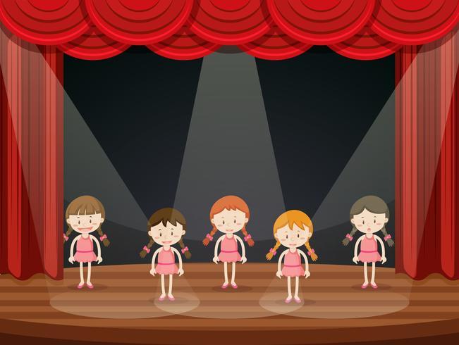 Chicas realizan ballet en el escenario. vector