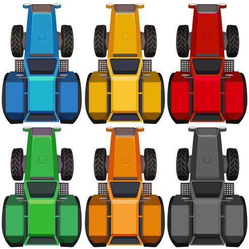 Vista superior de tractores en diferentes colores.
