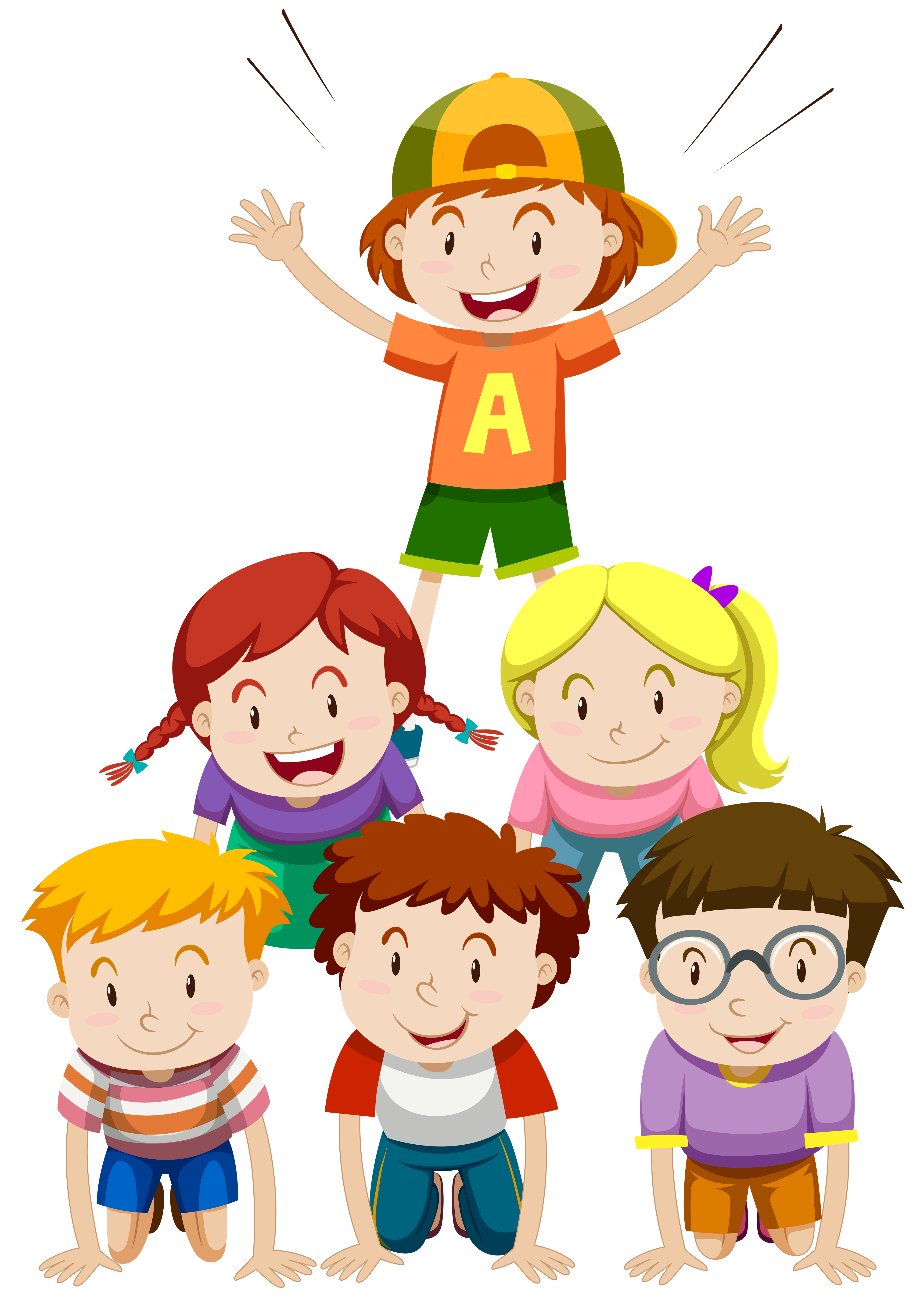 Children playing human pyramid - Download Free Vectors ...