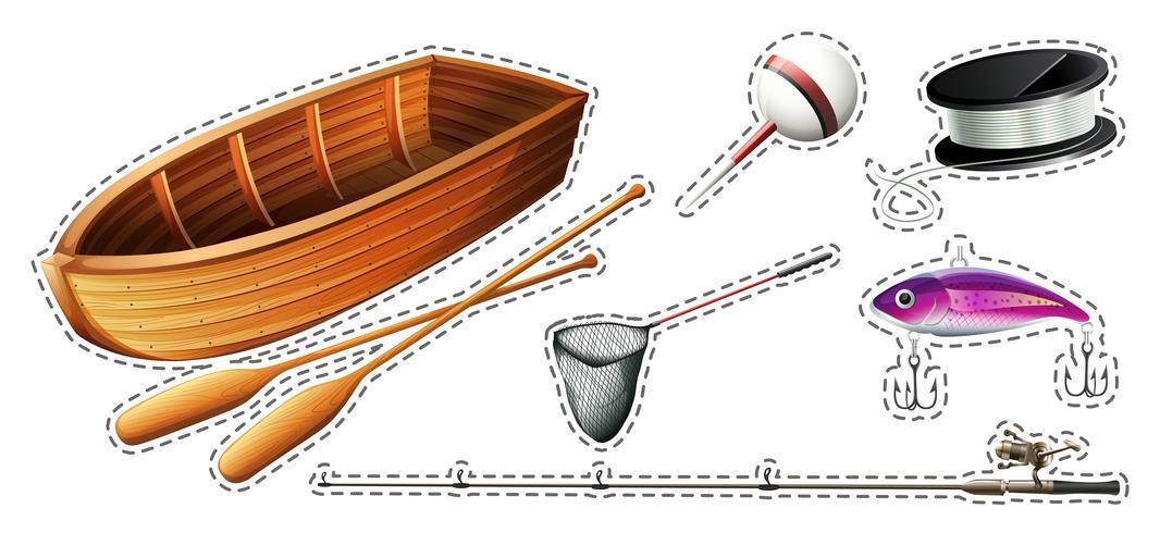 Set da pesca con barca e attrezzature vettore
