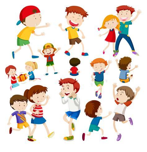 Conjunto de niños felices