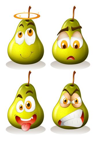 Fresh pear with facial expressions