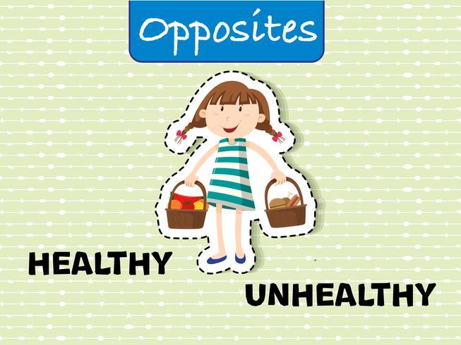 Palabras opuestas para saludable y no saludable.