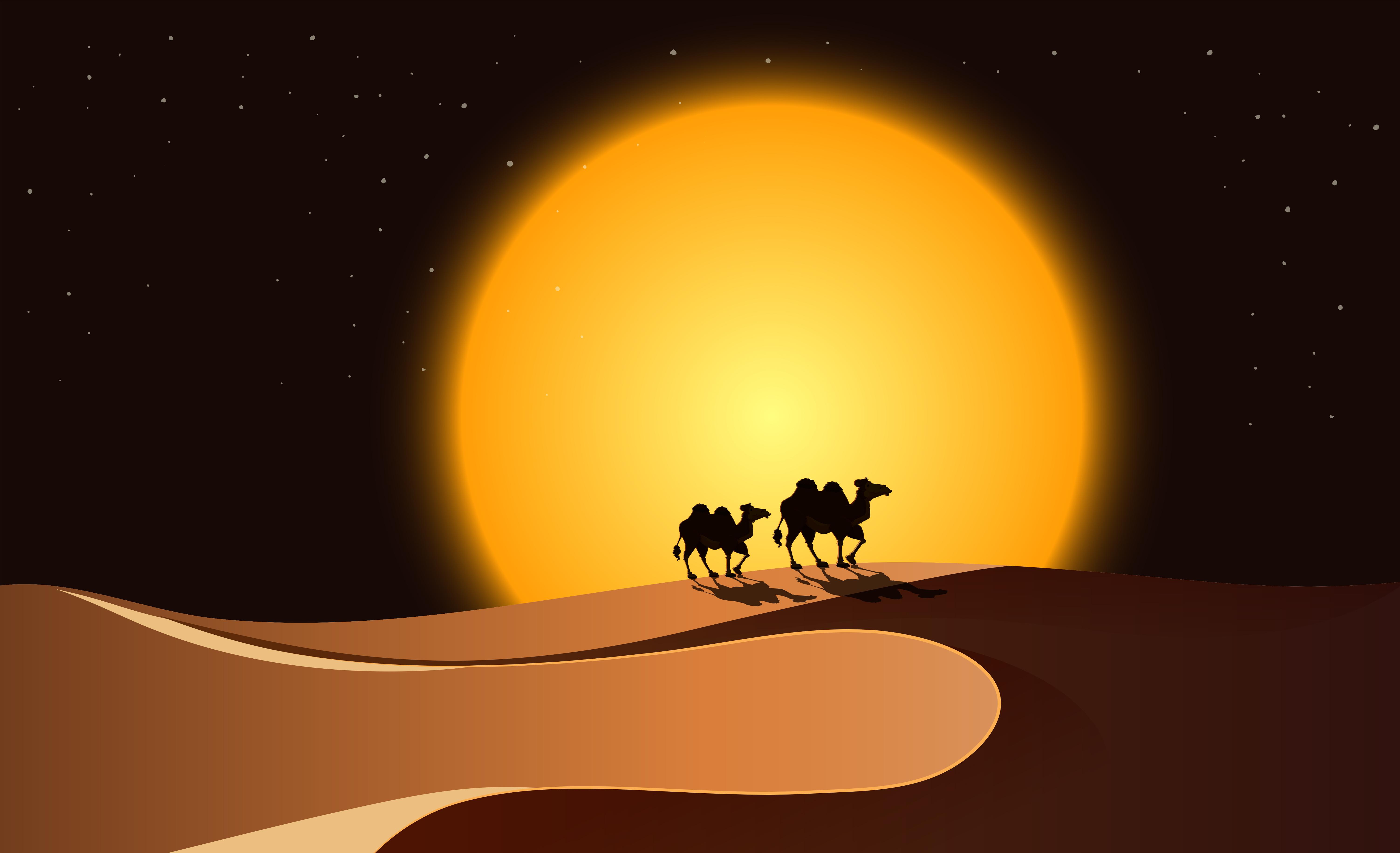 Desert Scene At Night Download Free Vector Art Stock